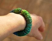 Crochet Bracelet Bangle - Blue Green - Elastic - Fiber - Custom Order - RESERVED FOR LAURA