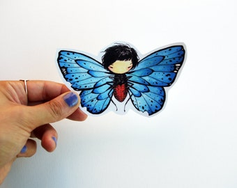 Butterfly Girl - Hand cut girl drawing