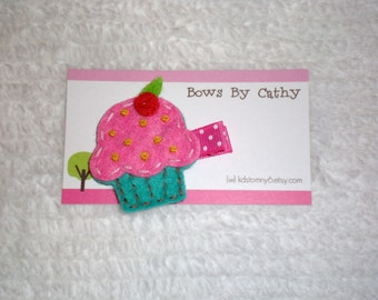 Cupcake Hair Clip - Pink and Turquoise Cupcake Felt Hair Clip - Birthday Hair Clip - Baby Hair Bow - Toddler Hair Bow