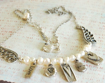 Hearts and Wings Silver Necklace