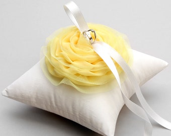 Yellow ring pillow, canari weddng ring pillow, bridal pillow, ring bearer, ring holder - Lilyrose