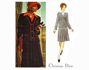 Christian Dior Vogue Paris Original 2941 Womens Suit Pattern, Fitted Jacket, Pleated Skirt & Shirt Bust 36, Vintage Sewing Pattern Uncut