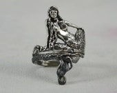 Mystical Mermaid Ring Fantasy Jewelry in Sterling Silver
