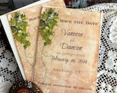 Vintage Romantic Ivy Save the Date Wedding Cards Handmade by avintageobsession on etsy