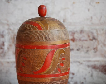 Vintage Wooden Container, Hand Carved