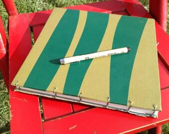 green zig zag 1960 repurposed vintage hand made coptic stitch art journal sketchbook notebook guest book