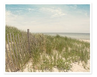 Beach Dunes Photography, Cape Cod, Sand Dunes, Landscape photography, beach picture, beach house decor, summer, blue ocean sky, New England