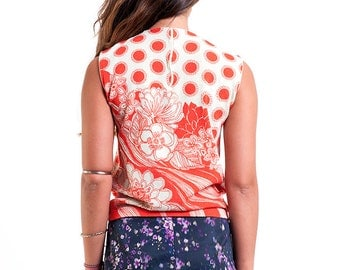 The Red and Beige Floral Polka Dot Tank