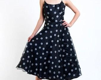 The Vintage Ballroom Platinum Polka Dot Dress