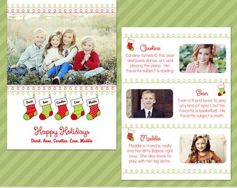 Personalized Stockings | Multi Photo Christmas Card Template | Holiday Card Template | Photoshop Templates | 5x7 Press Printed Card