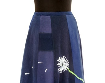 T-Skirt Upcycled, recycled, appliqué navy blue t-shirt skirt with blowing dandelion