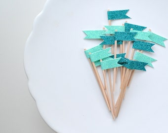 Oh, little darling topper series. Gift, cupcake and cake topper. Aqua and peacock