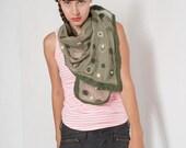 Felted green scarf. Olive Green Polka Dot Nuno felt scarf. silk chiffon felted scarf. Woman felted silk wool scarf. Felted scarves OOAK