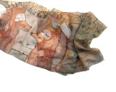 Hand painted scarf. Foxes dreaming of fishes. Silk chiffon scarf in sands,caramel,grey and taupe. Animals scarf. Custom order to Gretchen