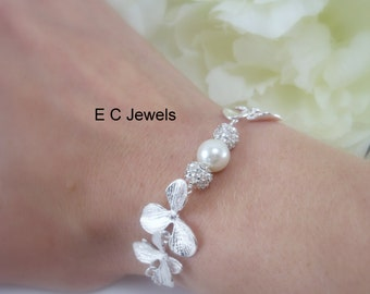 Orchids, Rhinestones and Pearls Bracelet