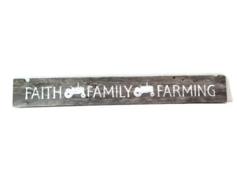 Reclaimed Wood Tractor Sign - Faith Family Farming - Event Decor