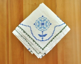 beautiful hand stitched blue floral linen tablecloth