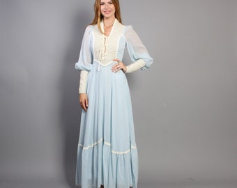 60s GUNNE SAX Maxi DRESS / Pale Blue & Lace Corset Bodice Black Label, xs