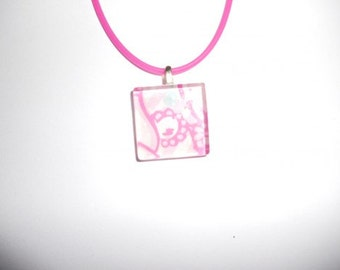 Lilly Pulitzer Print Pink Square Glass Tile Pendant