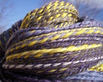 Valancy 420 yards handspun DK/Sport purple yellow blue wool