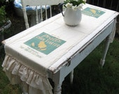 "Feed Sack Table Runner - ""Pratts Chick Starter"" - Farmhouse -Muslin - Triple Ruffles -  By:Sweet Magnolias Farm"