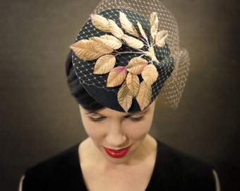 Teal Felt Fascinator with Golden Velvet Leaves and Birdcage Veil - Fall Fashion - Made to Order