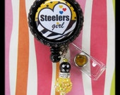 PITTSBURGH STEELERS Badge Holder ID retractable reel with bead dangle great for Nurses Teachers Students Coaches any profession