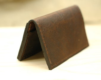 Slim Leather Card Wallet - Distressed Skinny Card Holder Leather Wallet - READY TO SHIP!