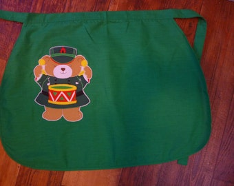 SALE Vintage Christmas Apron, Little Drummer Bear, Towel Art by Jay Franco, NOS, Unused