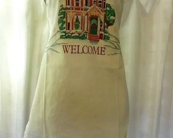 Vintage Christmas Bib Apron, Welcome, Victorian House