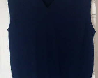 Vintage 60s 70s Izod Vest Sweater, Made in Brazil, Acrylic Wool Blend, Golf