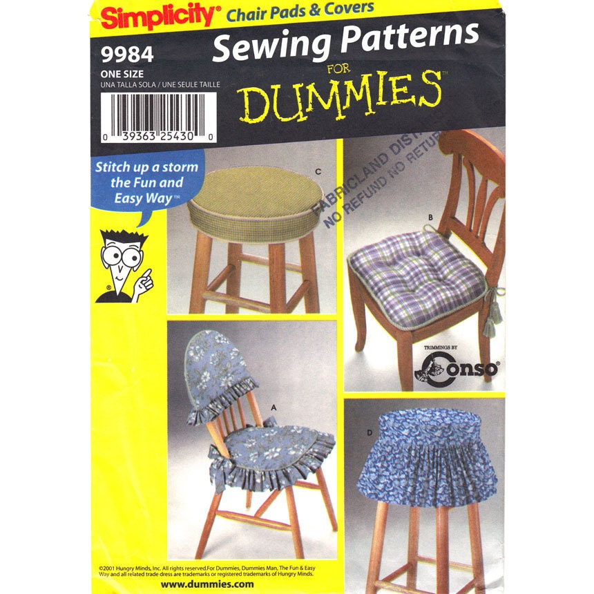 Stool dining chair covers pattern simplicity 9984 sewing for Furniture cover sewing patterns