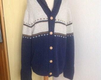 Vintage Sweater Shawl Cardigan Mens Wool Beige Large L