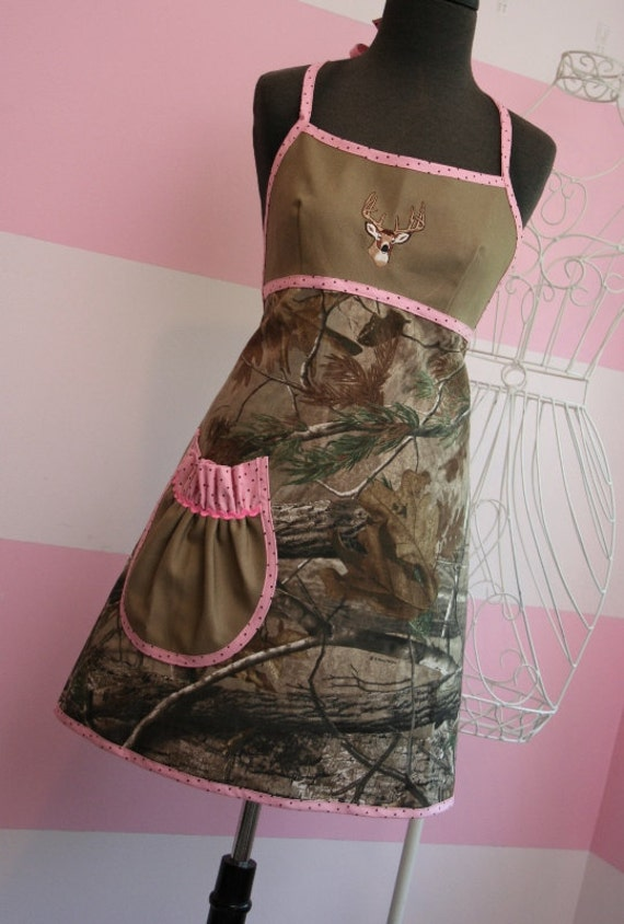 Kitchen Apron - Hunting Fishing - Camouflage and White Tail Deer Embroidery