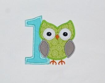 "Birthday Embroidered Iron On Applique  ""Owl"""