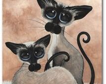 Siamese Cat Siblings- Art Prints by Bihrle ck328
