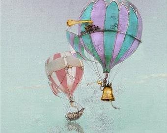Hot Air Balloons wall Art PRINT - Hot Air Balloons - giclée Fantasy Art Print - Steampunk Art - rainbow color