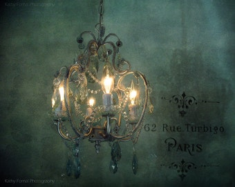 Paris Chandelier Photography, Sparkling Crystal Teal Chandelier, Paris Photography, Romantic Chandelier, Dreamy Paris Teal Chandelier Decor