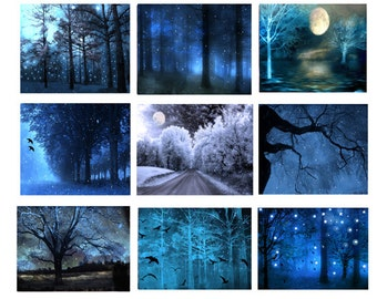 Nature Photography, Surreal Dreamy Blue Fantasy Nature, Sparkling Fairy Lights Trees, Set of 9 Prints Fantasy Fairytale Blue Nature Prints
