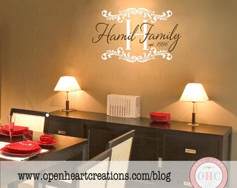 Personalized Script Family Name Wall Decal with Family Last Name Accents and Established Year - Monogram Vinyl Lettering 22h X 32w PD0064