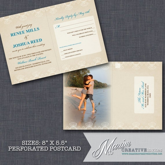Items Similar To Vintage Damask Wedding Invitation With Perforated Rsvp Postc