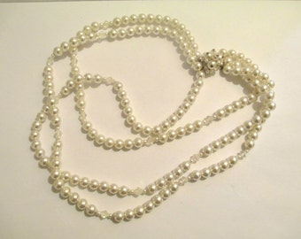 Vintage 60's Faux Pearl and Crystal Multi Strand Necklace