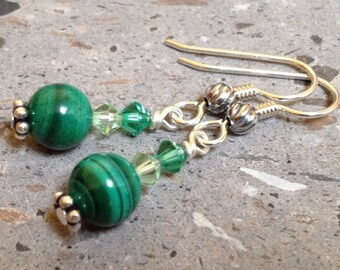 Green Malachite Gemstone and Swarovski Crystal Earrrings - Sterling Silver Dangles
