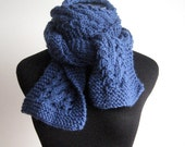 Hand Knit Scarf, Blue Cable and Lace Scarf, Knit Accessories, Vegan Scarf, The Stef Scarf, Womens Scarves, Winter Scarf