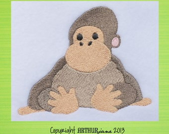 Gorilla Zoo Animal, INSTANT DOWNLOAD, Embroidery Design for Machine Embroidery 4x4