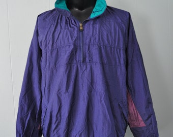 Champion WindBreaker Jacket Muted Purple Teal Nylon Running Sports Track Field LARGE