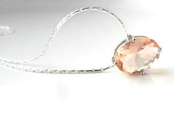 Solitaire Peach  Necklace / Framed Glass Stone / Bridal Gift / Solitaire  Silver Necklace / Dainty jewelry / Personalized pouch gift