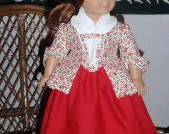 1770s 3 Pc Colonial Sacque Back Caraco Jacket Petticoat and Fichu for American Girl Felicity Elizabeth 18 inch doll
