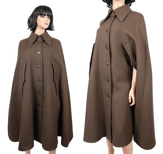 Vintage Cloak Cape Coat S M L Heavy Wool Twill Long Dark Brown