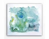 Color Block - Original Watercolor Abstract Painting - Lemon Zest Yellow Tender Shoots Emerald Green - Home Wall Office Decor - 8 x 10